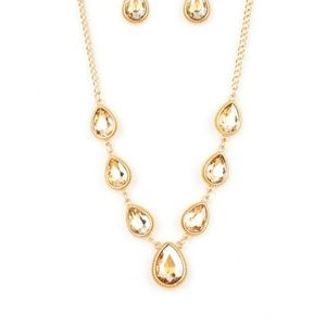 Gold with gold stones necklace with earrings